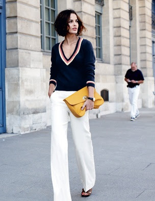 Navy and white. and mustard