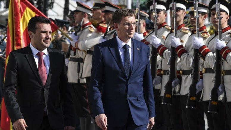 File Photo:  Fyromian Prime Minister Zoran Zaev (L) and Prime Minister of Slovenia Miro Cerar (R) inspect the guard of honour during a welcome ceremony in front of the Government Building in Skopje. EPA, GEORGI LICOVSKI