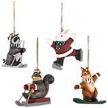 Set of 4 Carved Woodland Sports Animal Ornaments