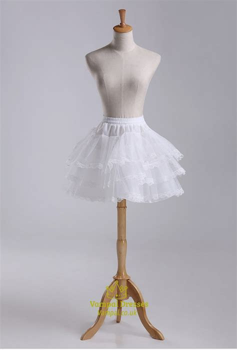 Girls Tulle Taffeta/Lace Short Length Three Tier Petticoat