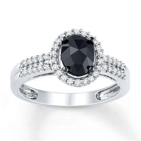 Black Diamond Ring 1 ct tw Oval cut 14K White Gold
