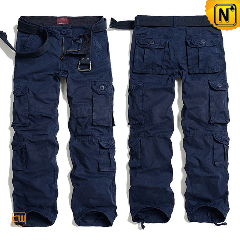multi pockets navy blue cargo pants for men cw100013
