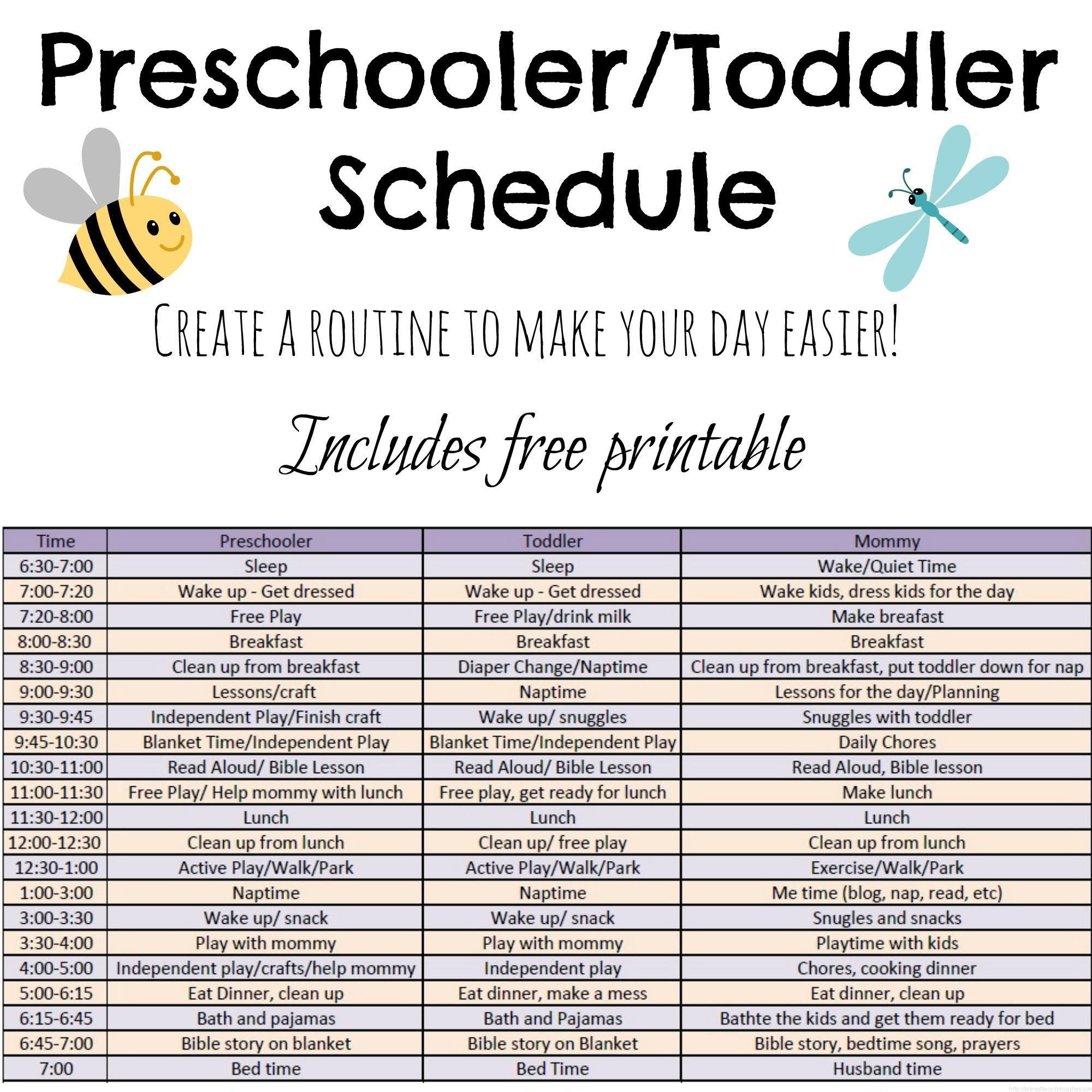 Toddler daily schedule! Need to be better at this with my kids ...