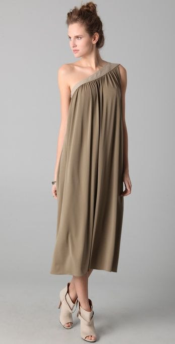 10 Crosby Derek Lam One Shoulder Dress with Linen Trim