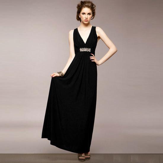 Long black elegant evening dress