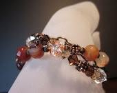 Daphne-Shibuichi Toggle, Carnelian Rondelles, Swarovski Crystals,Antiqued Brass, Antiqued Copper Bracelet