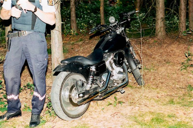 Jan Krogh Jensen sad på denne Harley, da skyttens første skud ramte ham. Polfoto