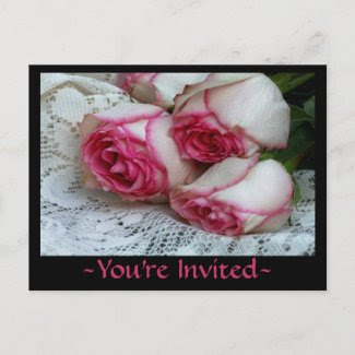 Roses On Lace You're Invited Postcards postcard
