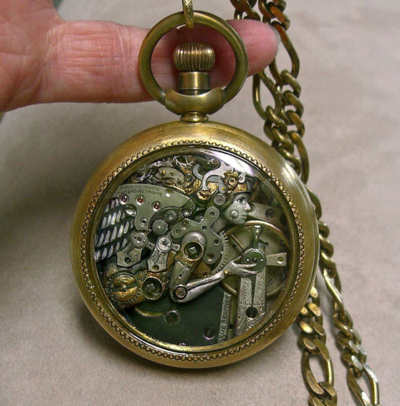 Pequenas esculturas steampunk feitas à base de relógios reciclados 14