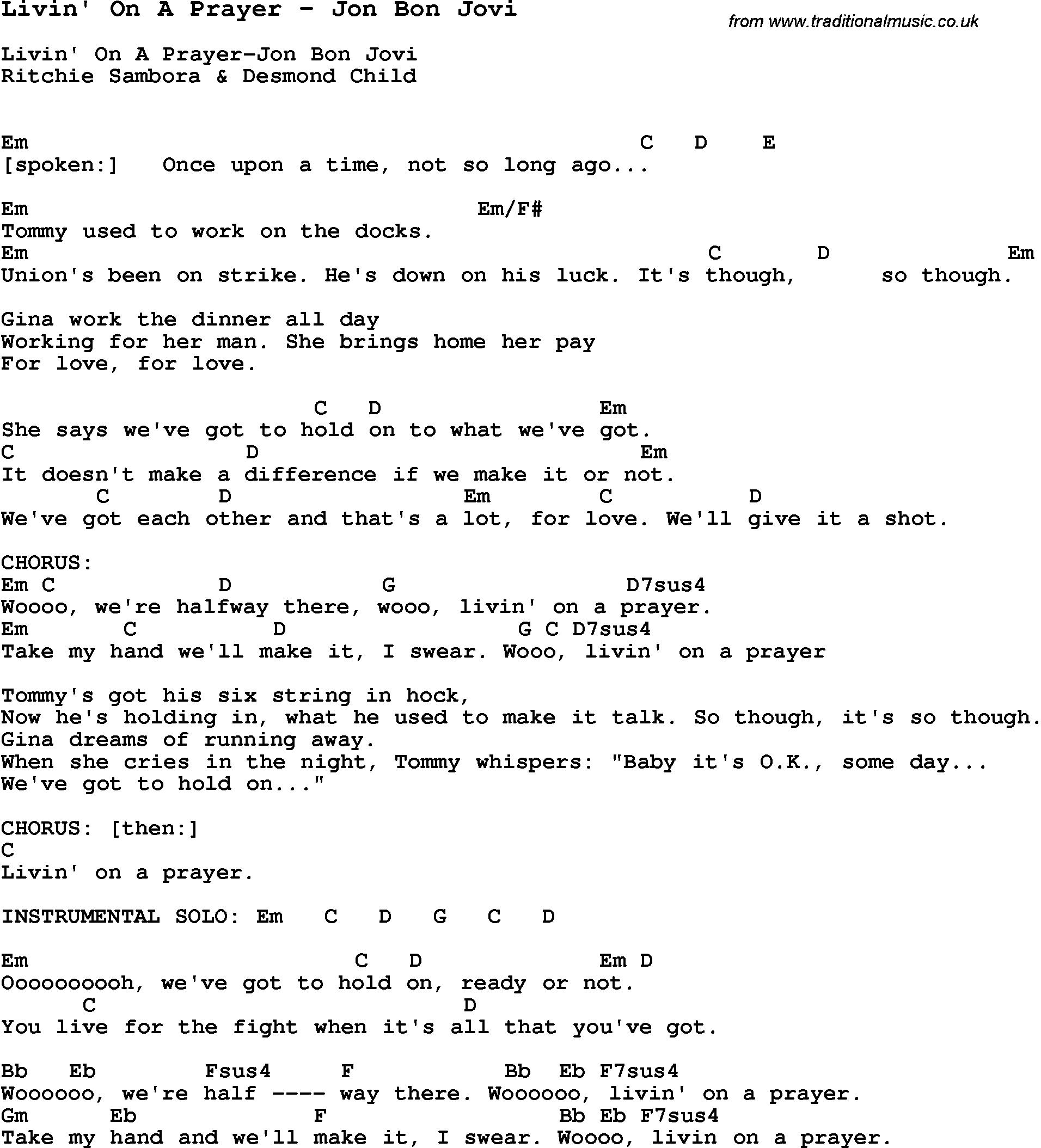 Chord Bon Jovi Livin On A Prayer   Chord Walls