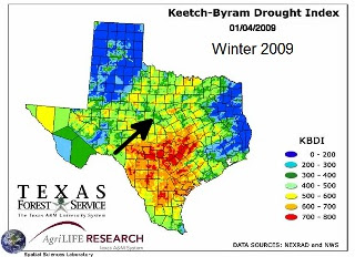 Drought 2011 Texas Map in 2009