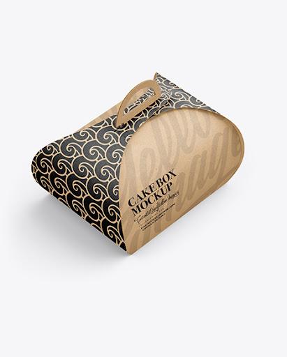 Download Free Kraft Paper Cake Box Mockup (PSD)