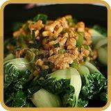 Stir-fried Chicken Floss with Bok Choy