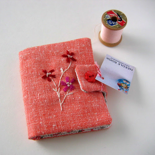 pink embroidered needlebook