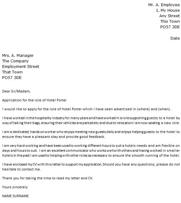 Hotel Porter Cover Letter Example Icover Org Uk