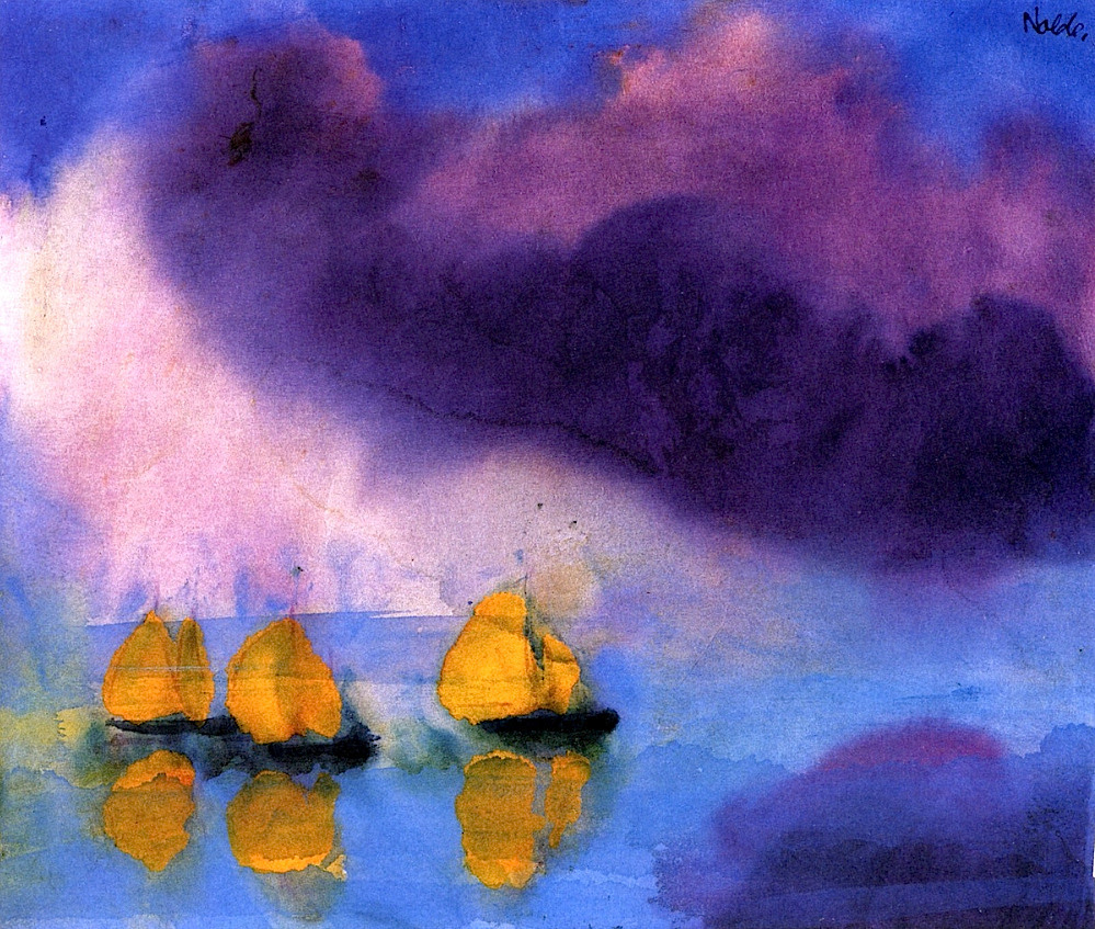 bofransson:  Sea with Violet Clouds and Three Yellow Sailboats Emile Nolde - 1946