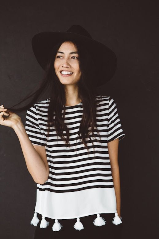 Le Fashion Blog Jenni Kayne Resort 2016 Striped Top With White Tassels Via Style Com