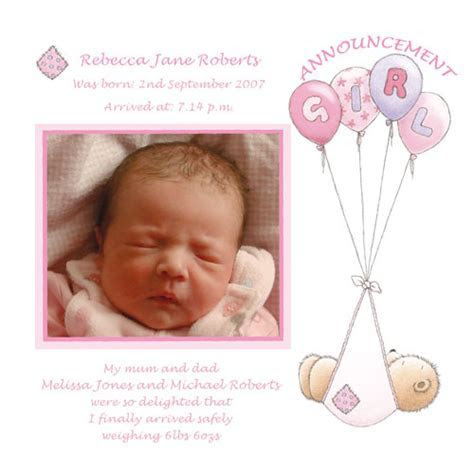 Baby Card A2G   Girl Birth Announcement   Buy personalised
