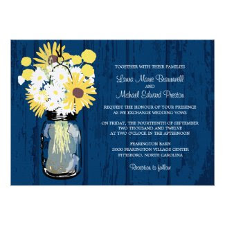 Mason Jar Wild Daisies Sunflowers & Billy Balls Invites