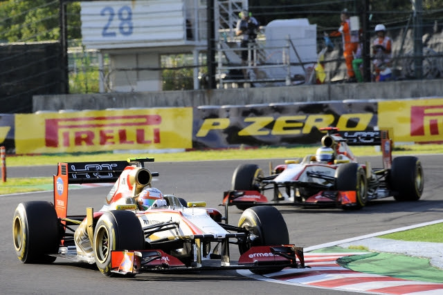 HRT failed to see both cars to the end of the race for the second time in two races. Pedro de la Rosa was able to finish eighteenth, yet team mate Narain Karthikeyan was forced to retire with a undisclosed mechanical problem.
