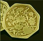 Antique 14kt gold flower cufflinks. (J9438)