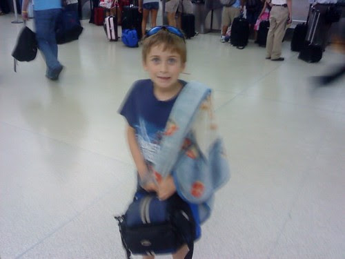Jacob getting ready for his first flight