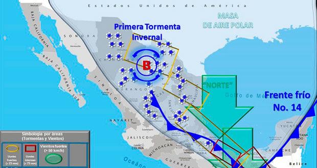 SMN pronostica nevadas en 5 estados y tormentas en Puebla