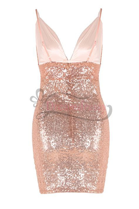 Sexy Straps Rose Gold Sequins Short Party Dress