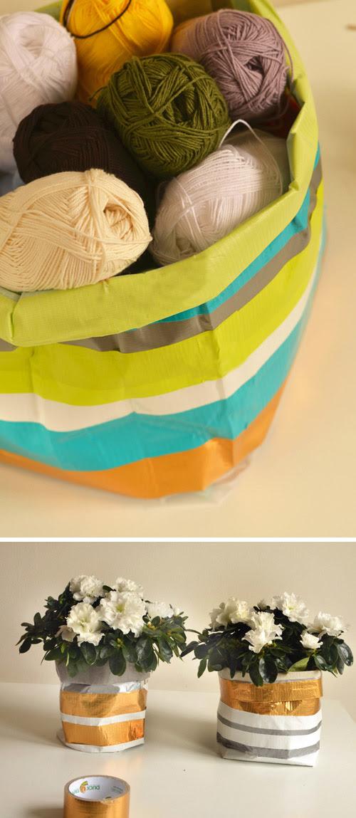 Μεγάλο & Μικρό Έργο: Ανθεκτικά δοχεία Οικιακά από κολλητική ταινία & Washi Tape. | Σχεδιασμός Μαμά