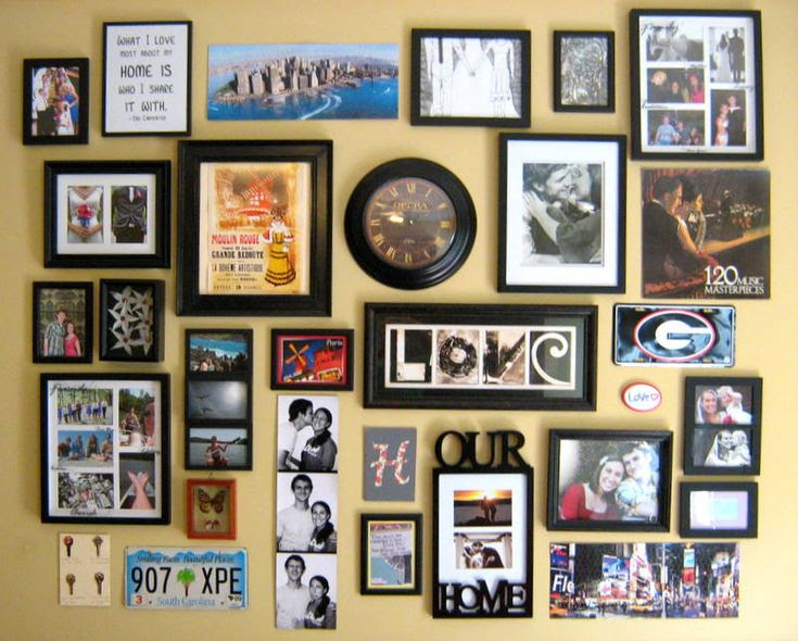 Love this idea!  This wall has everything from pictures to postcards to license plates.