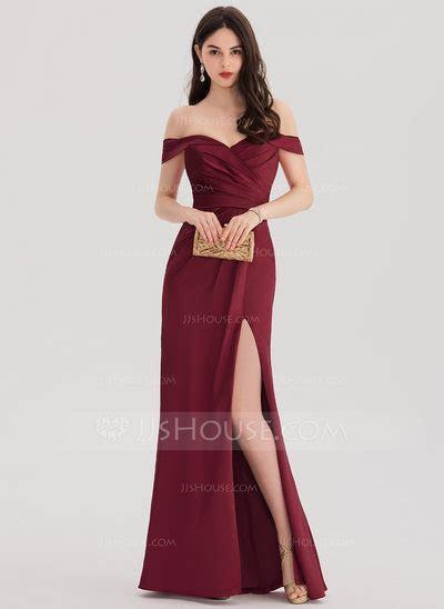 Sheath/Column Off the Shoulder Floor Length Satin Prom