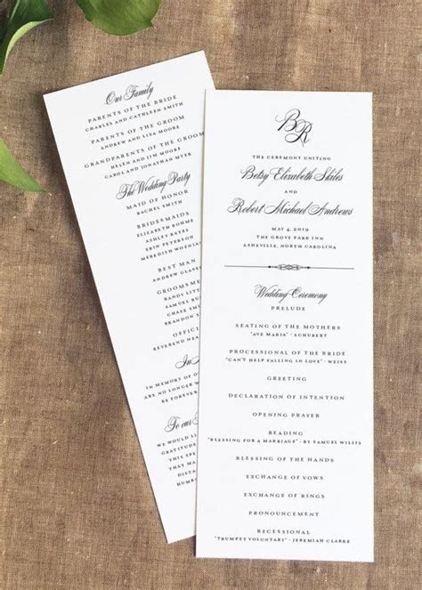 Our Grove Park Formal Wedding Programs are a beautiful