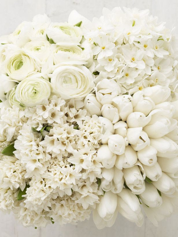 Flowers: 30 paper white narcissi, 25 white ranunculas, 25 white single tulips, 15 white hyacinths