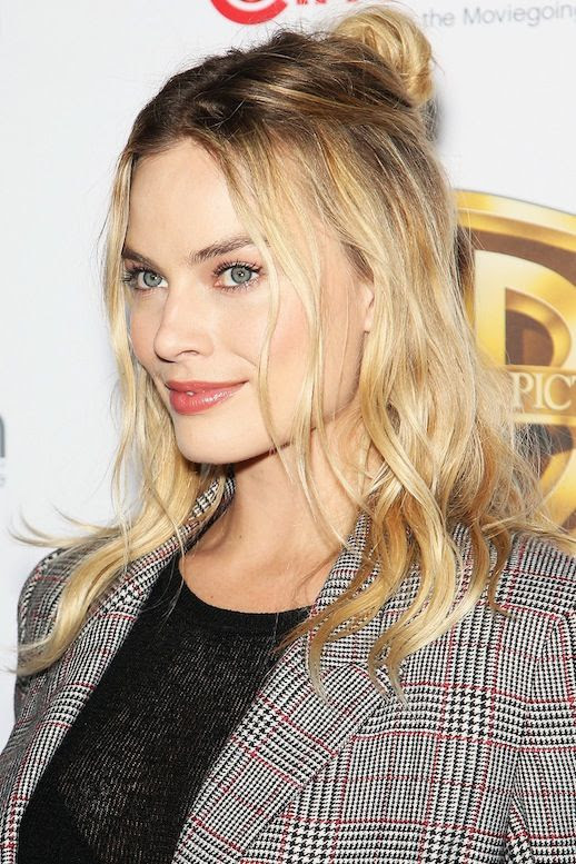 Le Fashion Blog Beauty Hair Crush Blonde Wavy Hair Half Up Top Knot Blazer Black Top Via Harpers Bazaar