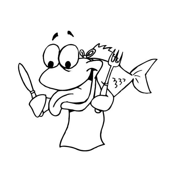 Disegno Di Pesce Affamato Da Colorare Per Bambini
