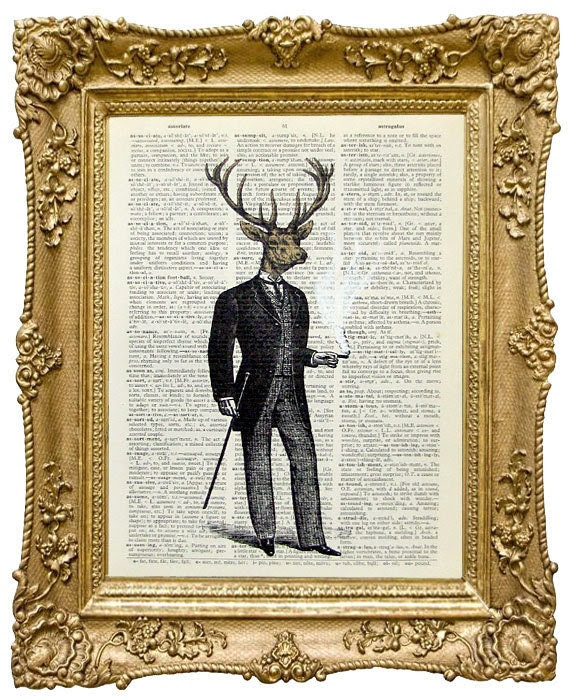 "Deer Man -  ORIGINAL ARTWORK hand painted Mixed Media printed on Repurposed Vintage Dictionary page 8"" x11"""