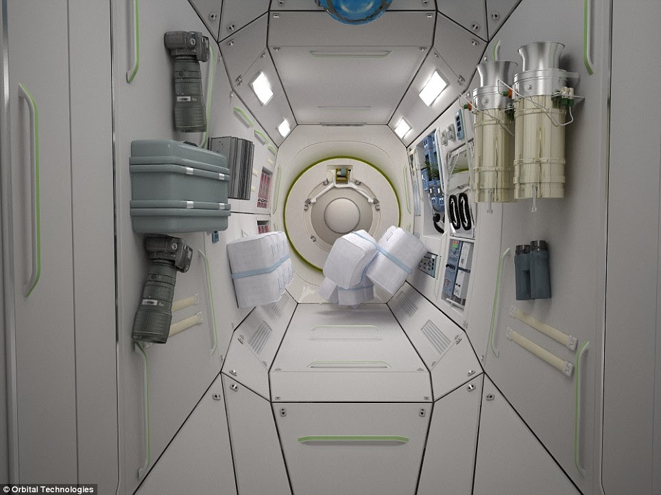 Space tourism: The hotel room pods will be fitted with binoculars and cameras to guests can enjoy the spectacular intergalactic views