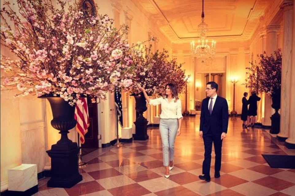 Primeira-dama Melania Trump gesticula em direção às grandes exibições de flores de cerejeira que foram instaladas para o jantar de terça-feira com a França