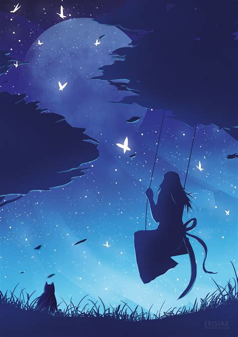 art  animation erisiar anime girlboy scenery