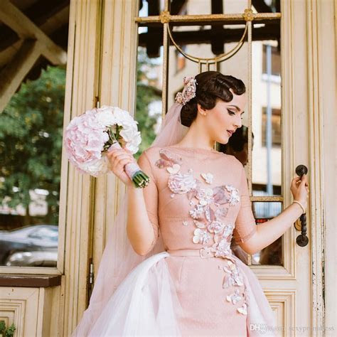 Blush Pink Short Wedding Dresses With Tulle Detachable