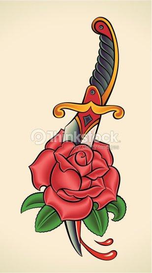 Oldschool Tattoo Dagger Through Rose Vector Art Thinkstock