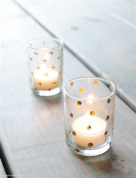 DIY with dollar store votive holders, metallic paint, and