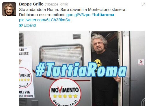 Twitter message from Beppe Grillo, Apr. 20, 2013