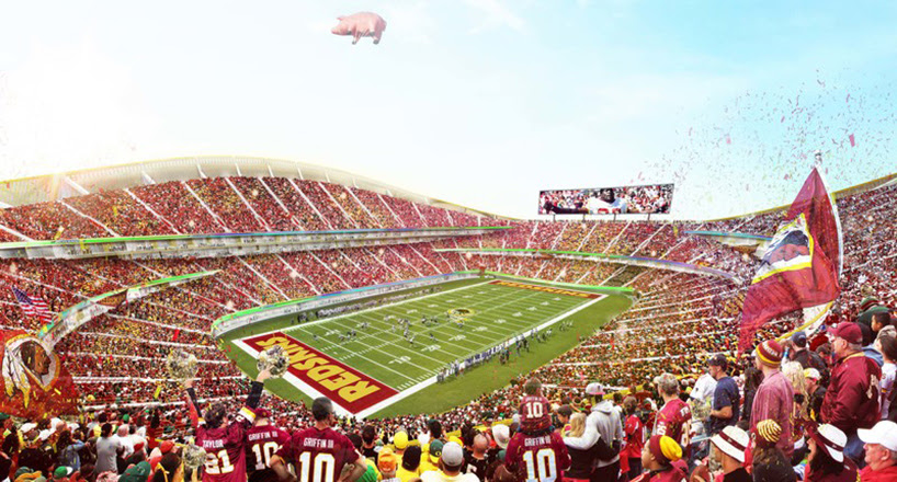 BIG's stadium design for the washington redskins includes a recreational moat