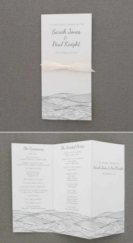 Wedding Program Template ? Beach Waves Design   Download