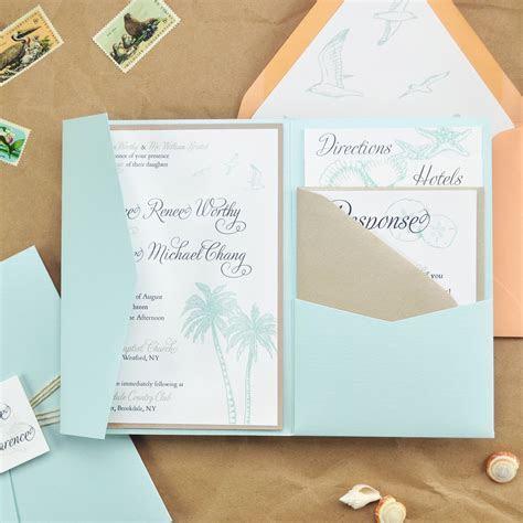 DIY Beach Wedding Pocket Invitation   Cards & Pockets