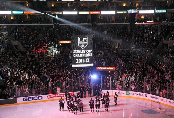 The Los Angeles Kings' championship banner is raised at STAPLES Center during a pregame ceremony on January 19, 2013.