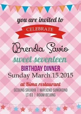 Kartu Undangan Sweet Seventeen