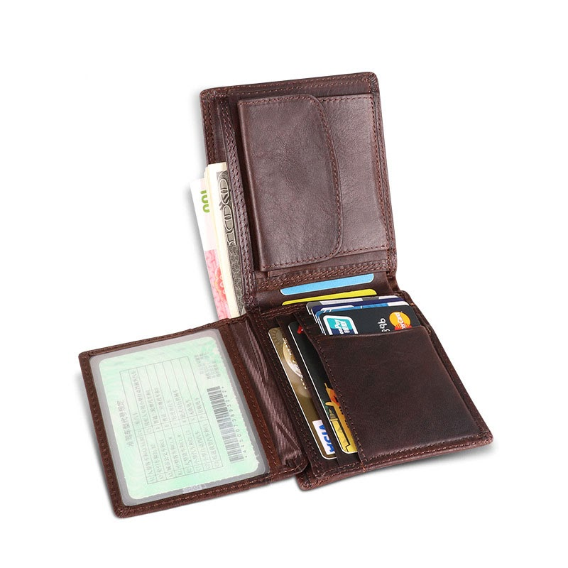 Sale New Short Multifunctional Leather Male'S Wallet Rfid Multi-Card Anti-Theft Water Brush Short Business Wallets Men'S Bag Fpr Man