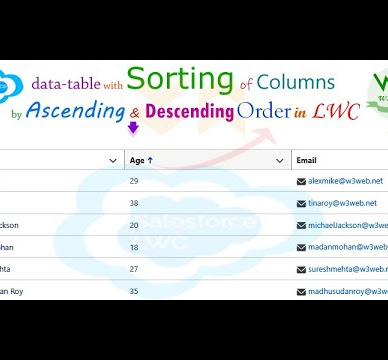 Create data-table with sorting of columns by ascending and descending order in lightning web component -- LWC